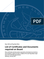 List of Stat Certificates to Be Carried