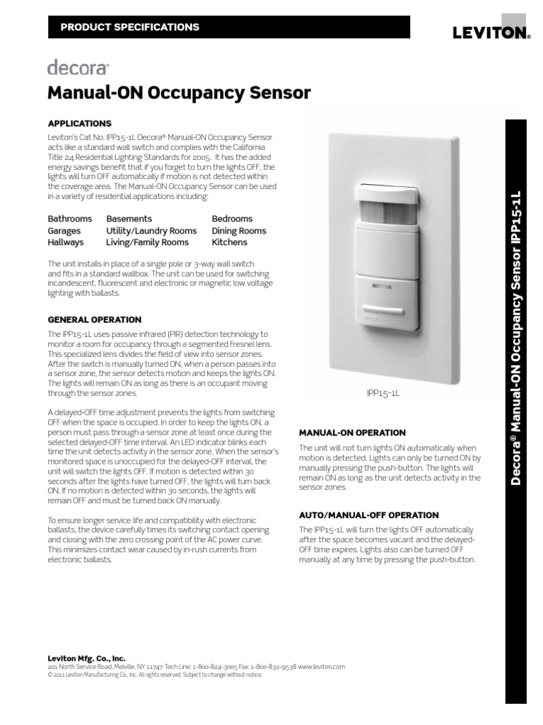 Leviton IPP15 Spec Sheet | Lighting | Electrical Components