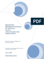 different sources of finance to plc