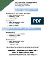 Class Schedule 2008