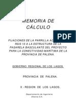 Memoria de Cálculo de la fijación de las Parrillas Acustermic de la Pasarela Basculante del Proyecto Chaitén