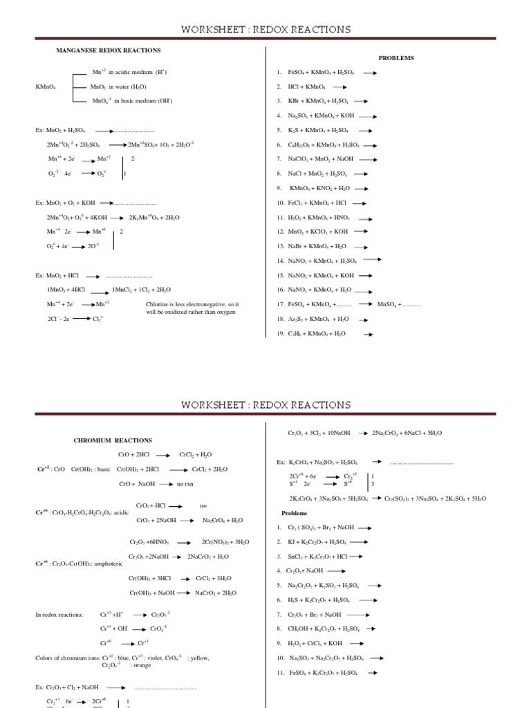 4 worksheet redox reactions 8 9 redox chemical compounds. Black Bedroom Furniture Sets. Home Design Ideas