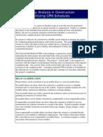 Delay Analysis in Construction Utilizing CPM Schedules