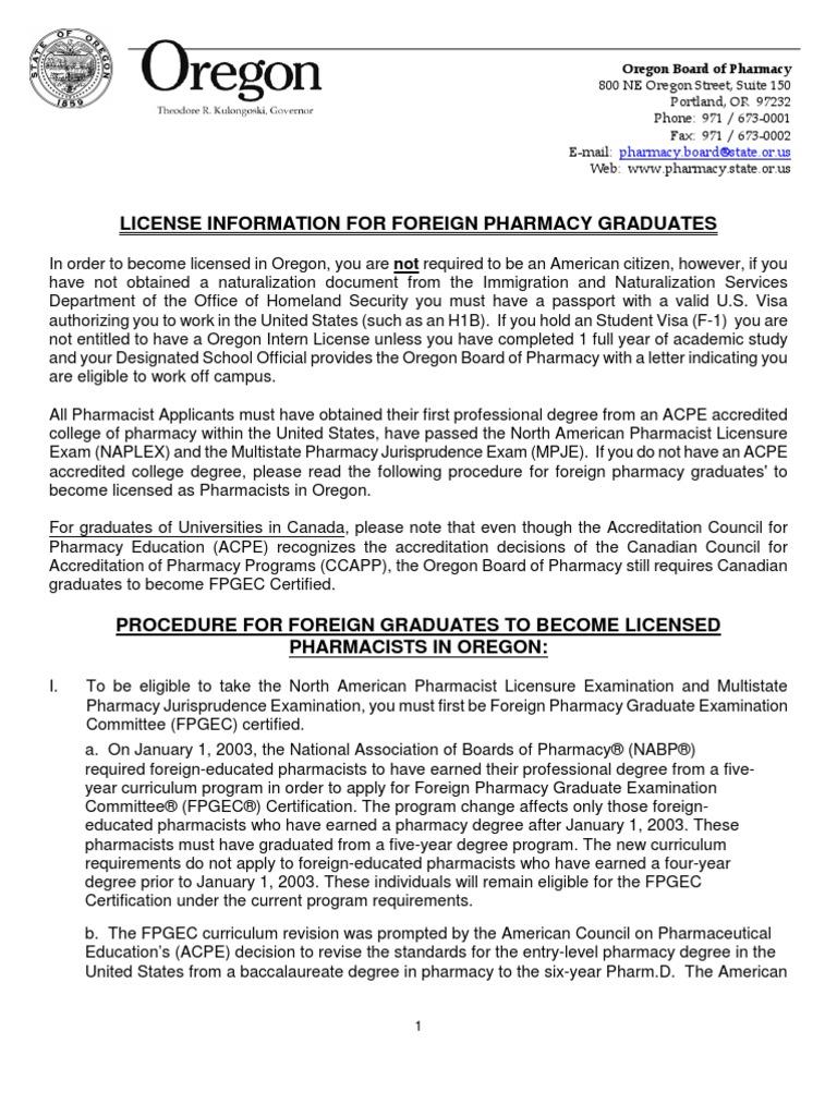 Foreign Grads Info Letter Pharmacist Testexamination
