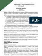 Reglamento de la Ley del Profesorado Nº 24029 y su modificatoria Ley Nº 25212