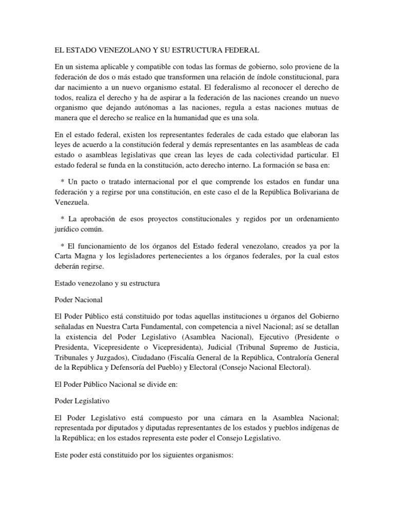 El Estado Venezolano Y Su Estructura Federal Separación De
