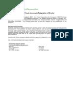 Uploads_SF Release - Bowland Resignation - Nov 4 2011