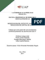 Trabajo de d Comercial Modificacion Estatuto, Aumento y Reduccion de Capital