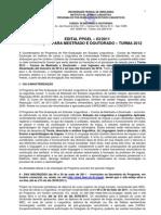 Edital Mestrado Linguística na UFU