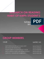 RESEARCH ON READING HABIT OF KMPh STUDENT'S -presenttation 2