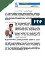 Common Hearing Loss Tests