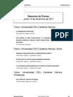Resumen de Prensa CEU-UCH 14-12-2011
