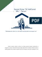 Plan de Afacere Firma SC AdiConst SRL Tecuci