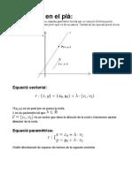 Equacions de rectes en el plà
