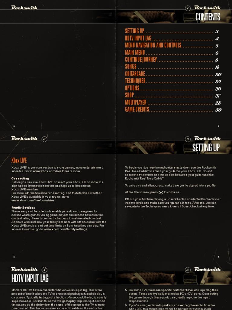 Rocksmith X360 Manual ENG | Lag | Television