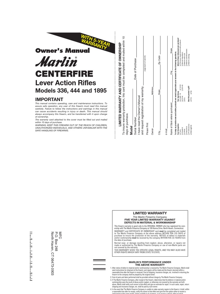 Marlin Lever Action Rifles Owners Manual Trigger Firearms Model 1894 Parts Diagram Cartridge