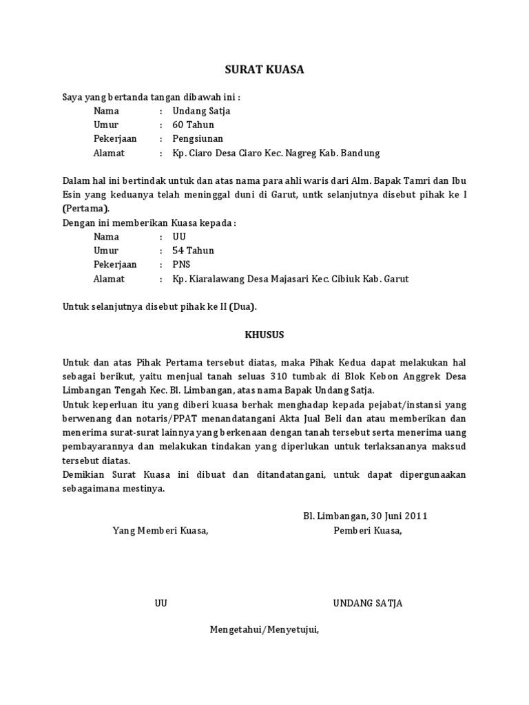 Contoh Surat Jual Beli Tanah Warisan Doc
