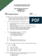 Third Periodical Examination Chemistry I 2011-2012