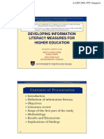 Developing Information Literacy Measures for Higher Education