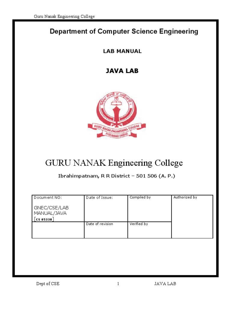Java Lab Manual | Object (Computer Science) | Object Oriented Programming