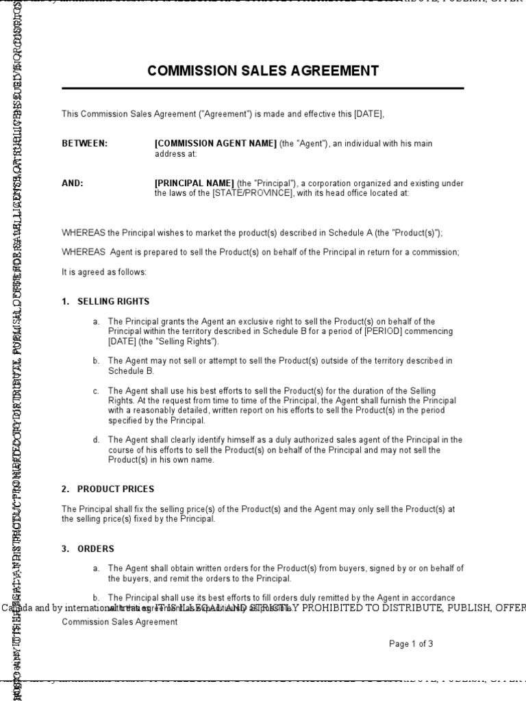 Commission Sales Agreement Law Of Agency Copyright