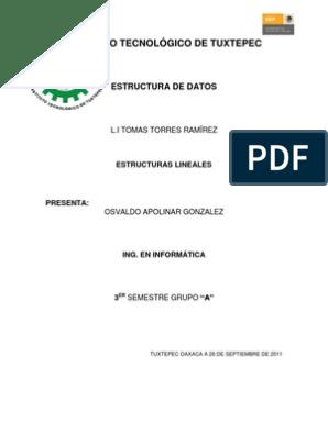 Estructuras Lineales Oag áreas De La Informática