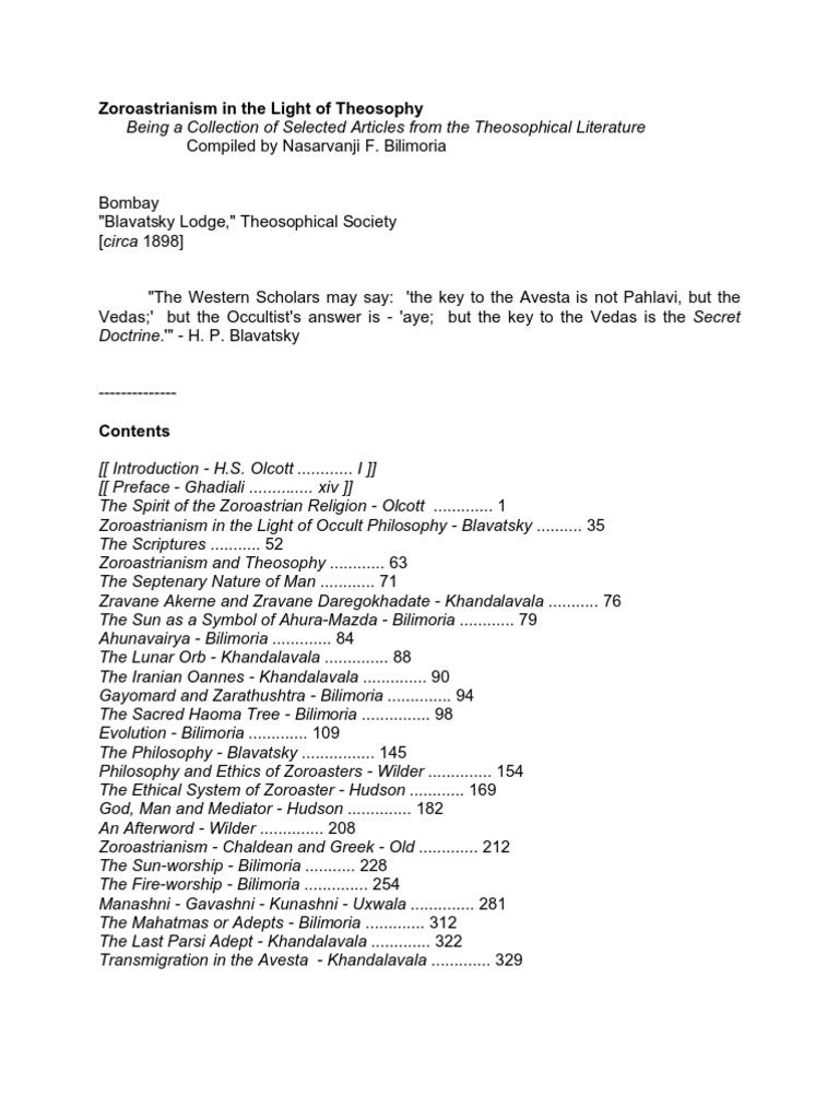 Zoroastrianism Bilimoria Zoroastrianism Theosophy
