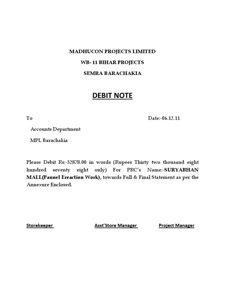 DEBIT NOTE FORMATE – Debit Note Sample