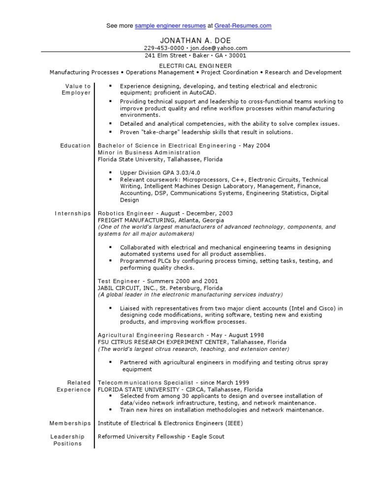 sle electrical engineer resume