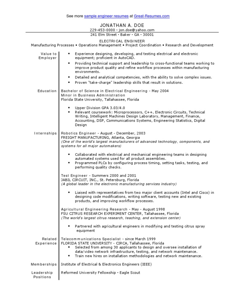 sle electrical engineer resume engineer electrical