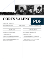 Bolleti Oficial Corts Valencianes Tramitació Pressupostos 2012