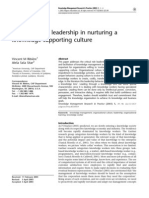 Critical Role of Leadership in Nurturing a Knowledge-supporting Culture