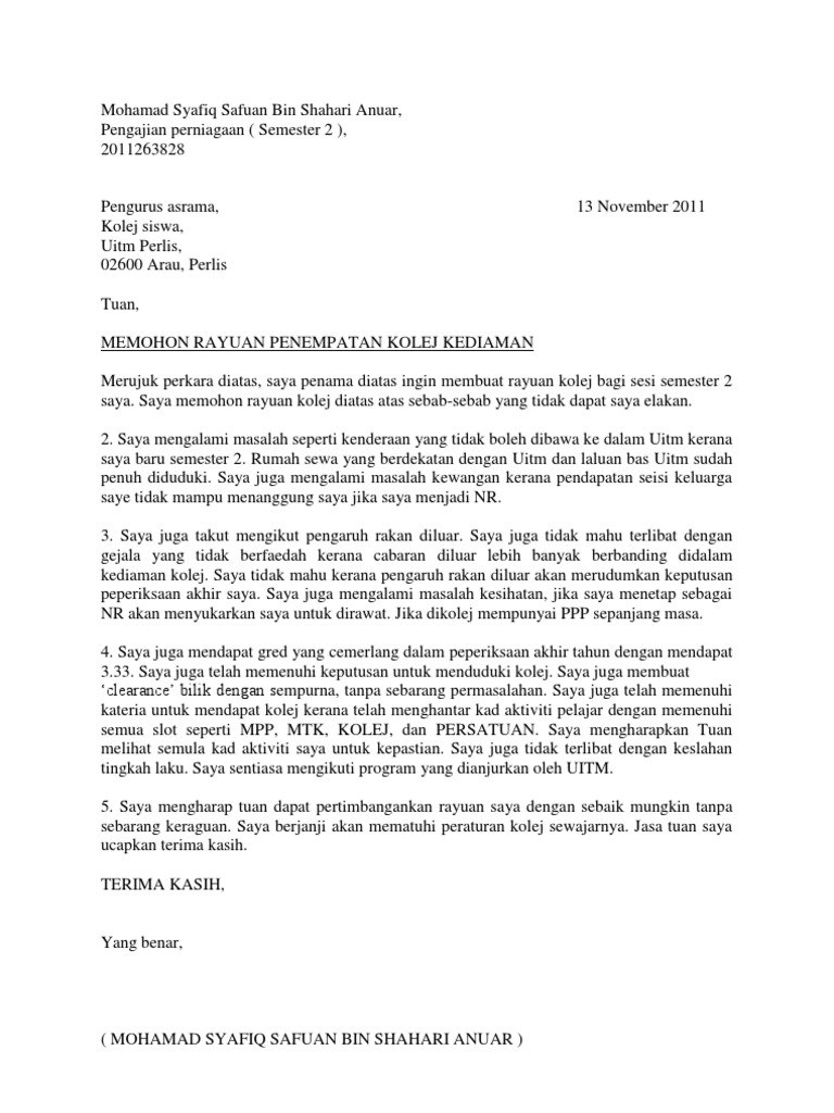 Surat Rasmi Permohonan Kolej Uitm Selangor W