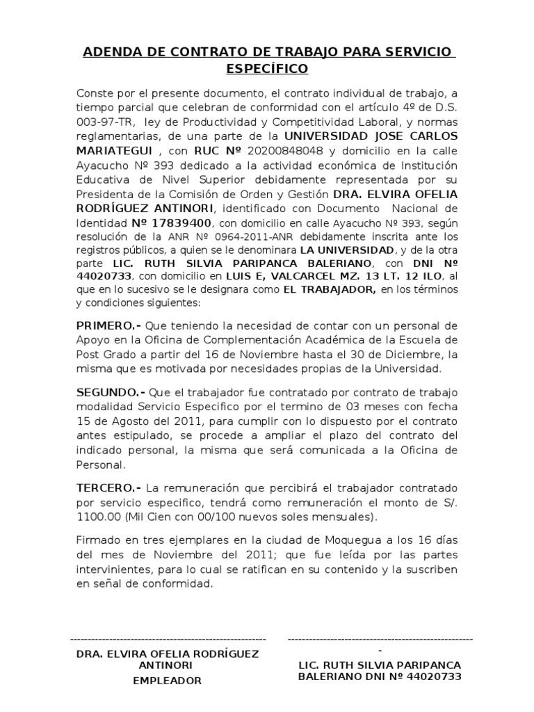 Adenda de contrato sujeto a modalidad for Contrato trabajo