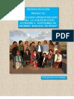 """Sistematización del Proyecto """"Ampliando oportunidades para la participación económica sostenible de mujeres rurales en Puno"""""""