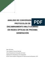 Análisis de Convergencia de Protocolos de Encaminamiento Multi-Dominio en Redes Ópticas de Próxim