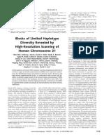 Nila Patil et al- Blocks of Limited Haplotype Diversity Revealed by High-Resolution Scanning of Human Chromosome 21