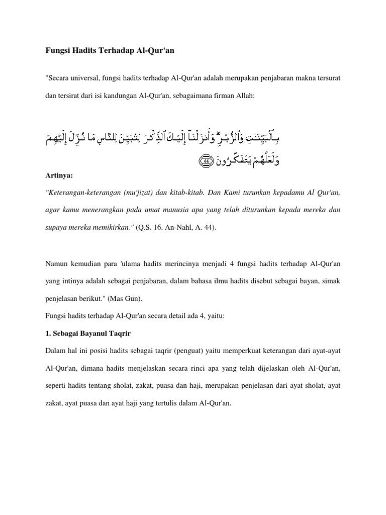 Fungsi Hadits Terhadap Al Quran