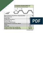 Acme Lead Screw Calculator - Unified - ASME - ANSI - B1.5 -1988