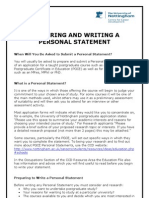 Preparing Writing a Personal Statement