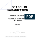 Article Critique-Journal of Teacher Education