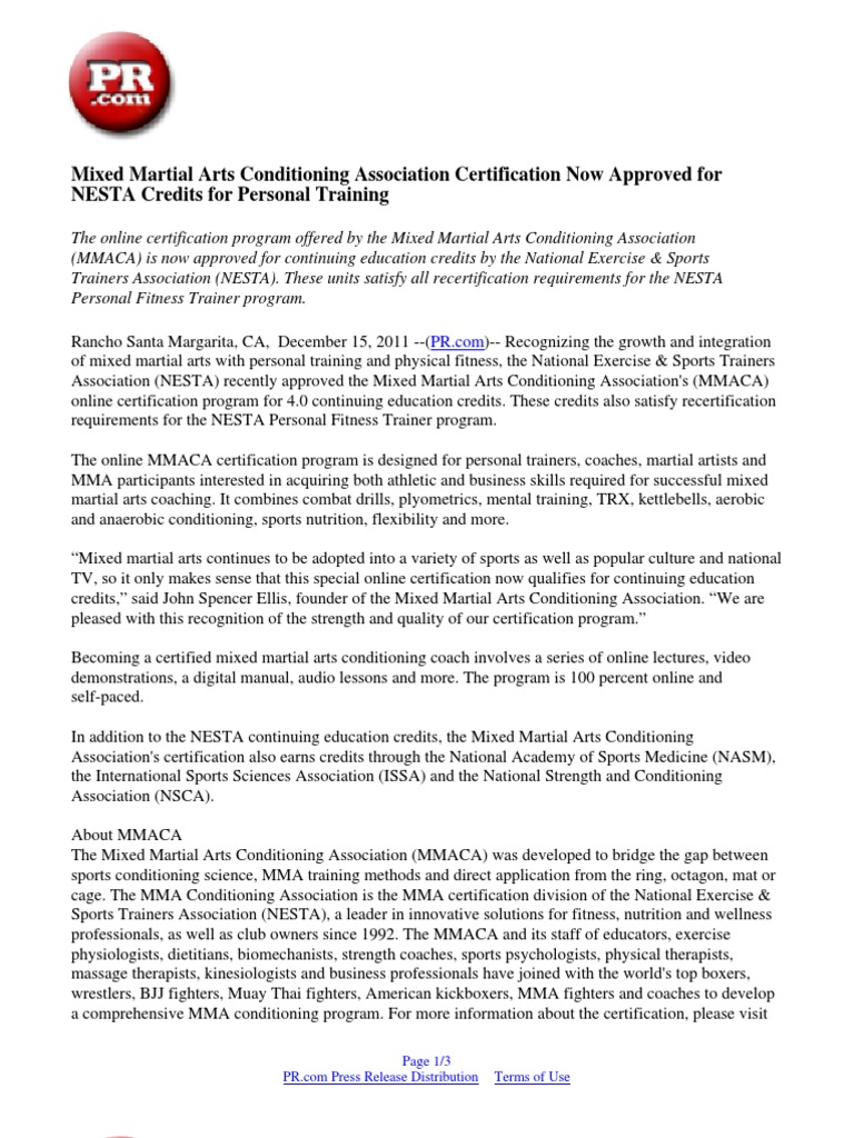 Mixed martial arts conditioning association certification now mixed martial arts conditioning association certification now approved for nesta credits for personal training personal trainer mixed martial arts xflitez Images