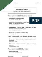 Resumen de Prensa CEU-UCH 16-12-2011