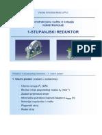 Konstrukcije - 1-Stupanjski Reduktor - Tok Proracuna 2010-2011