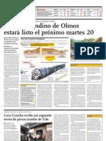 Túnel trasandino de Olmos estará listo el próximo martes 20