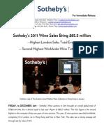 Sotheby's 2011 Wine Sales Bring $85.5 million