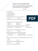 Sample Questionnaire on Customer Satisfaction in Banks