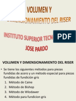 Volumen y Dimension a Mien To de Riser