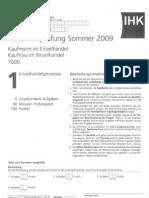 IHK_Prüfung_Kaufmann_Einzelhandelprozesse_Sommer2009