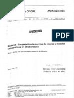 NCh2260 – Morteros – Preparacion de mezclas de prueba y mezclas comparativas en el laboratorio